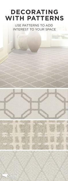 Personalize your space with beautiful patterned carpets. Choose what speaks to you and experiment with different shapes, sizes and colors to have fun defining the important spaces and adding interest to your home.