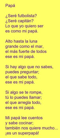 Poesia para el dia del Padre - Jardin Tutorial and Ideas Kids Fathers Day Crafts, Happy Fathers Day, Fathers Day Gifts, Dad Day, Mom And Dad, Poetry For Kids, Father's Day Diy, Tutorial, Holidays And Events