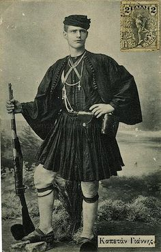 History of the Fustanella - Captain Yannis Ramnalis, Macedonian fighter for the liberation of Macedonia from Turkish occupation and for reunification with the rest of Greece Churchill, Greek Traditional Dress, Kai, Macedonia Greece, Greece Pictures, Greek Men, Man Skirt, Greek History, Men In Kilts
