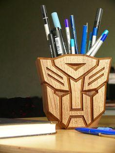 Wooden Autobot Optimus Prime Holder Hand Carved Robot holder