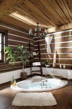 salle de bain zen bambou revetement en bois, baignoire encastre dans le sol, salle de bain en bois zen