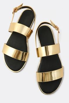 c8482b8fe4276 Metallic Patent Double Band Slingback Sandals Metallic Shoes