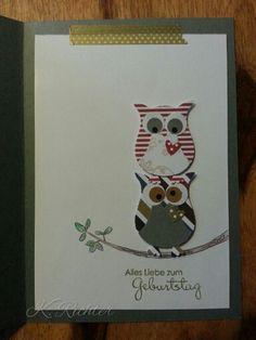 Birthday Card, owl punch art