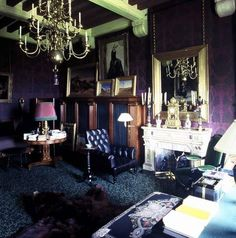 one of the many homes of my favorite designer of all times, Yves St. Laurent. purples, blues, black.  At Château Gabriel