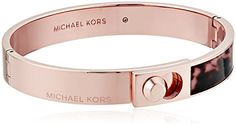 Michael Kors Core Logo Rose GoldTone Blush and Acetate Hinged Bangle Bracelet ** Visit the image link more details.(This is an Amazon affiliate link and I receive a commission for the sales)