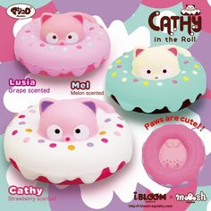 New super cute cat squishy from ibloom. Cathy in a roll squishy. Super squishy licensed squishy from iBloom. Comes in original packaging. Ibloom Squishies, Kawaii Doodles, Kawaii Art, Cute Dragon Drawing, Green Melon, Charms Lol, Cute Squishies, White Strawberry, Super Cute Cats