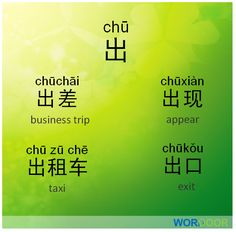 Chinese phrases - Here are some common words and phrases that use the character 出(chu1).Can you make a sentence using one of these words?