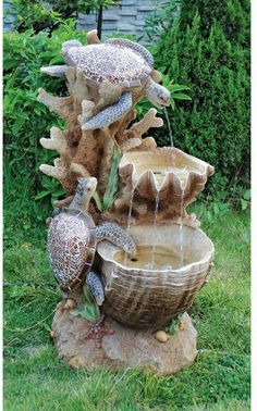 Turtle Cove Cascading Sculptural Design Toscano Fountain With LED Lights Deco Led, Fountain Design, Garden Fountains, Water Fountains, Outdoor Fountains, Fountain Garden, Table Fountain, Rock Fountain, Gardens
