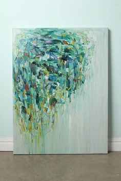 "Canadian artist Yangyang Pan's expressionistic paintings burst with exuberant strokes and emotionally rich imagery. The cool greens and loose brushstrokes marking this original piece pay homage to Hawaii's tropical saman.  One of a kind  Unframed  Oil on canvas  36""H, 48""W  Canada"
