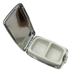 Amazon.com: Polished Chrome 2 Compartment Pill Box: Health & Personal Care