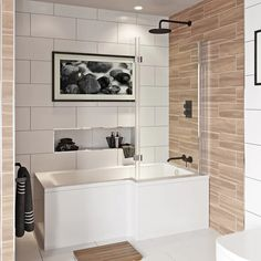 Mode L shaped right handed shower bath with hinged shower screen Bathtub Shower Combo, Shower Over Bath, Bathroom Tub Shower, Bathroom Ideas, Bath Tubs, Bathroom Inspiration, Bathroom With Shower And Bath, Master Bathroom Tub, Bathroom Inspo
