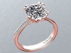 Victorian inspired 14k Rose gold Diamond Ring Engagement Ring 2.65 ct VVS White Sapphire W26WS14R