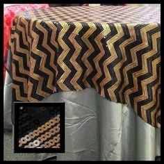 Chevron Sequin Table Overlay Square Tablecloth Cover [54X54] [72X72] OR…