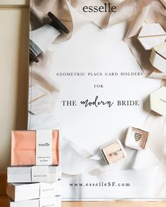 We are the first and only #cardholder company & brand that's all about bringing pretty geometric details to your wedding/event!  All of our place card holders are designed and hand-painted by us with love [Webshop link in profile] #esselle #tabletopcollective #wedding
