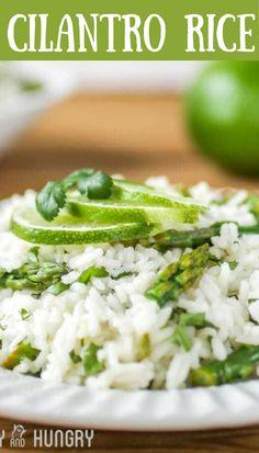 The BEST Cilantro Rice with asparagus recipe