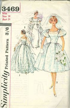 Vintage Bridal Gown Sewing Pattern S3469 Size 14 |