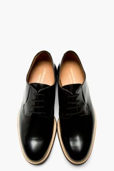 COMMON PROJECTS Black Leather Crepe Sole Shine Derbys