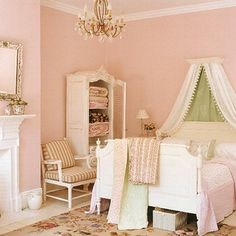 Such a pretty little girls room. A perfect amount of girly and a perfect amount of charm.