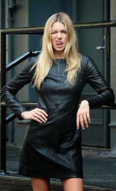 leather dress hot and fresh. Black Leather Dresses, Leather And Lace, I Love Fashion, Womens Fashion, Style Fashion, Leather Fashion, Street Style, My Style, Black Style