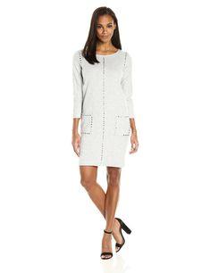 Joan Vass Womens Studded Cotton Dress Cloud L *** Visit the image link more details-affiliate link. #WomenDresses