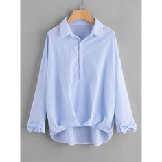 SheIn(sheinside) Bow Cuff Box Pleated Dip Hem Blouse ($18) ❤ liked on Polyvore featuring tops, blouses, blue, button blouse, blue stripe blouse, long sleeve blouse, embellished collar blouse and blue blouse