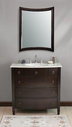 "899.00 36"" ***OVERSTOCK SALE*** - Virtu USA LS-1041 - Venice 36"" Single Bathroom Vanity With Mirror"