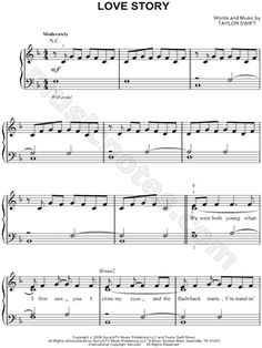 I found digital sheet music (easy piano) for Love Story by Taylor Swift from 2008 at Musicnotes.