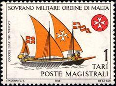 Stamp: Galera XVIII century (Malta, Sovereign Military Order of) (Ancient ships) Un:SM-OM 31