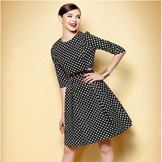 Super Cute Vintage Polka Dot Swing Dress - pair with red heels and red purse.