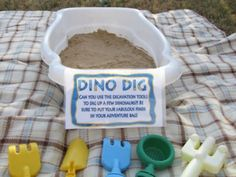 Dino Dig---fun activity at our beach birthday party! Dinosaur Train Party, Dinosaur Birthday Party, 4th Birthday Parties, Birthday Fun, Birthday Ideas, Toddler Birthday Party Games, Dino Train, Dinosaur Dig, Dinosaur Games