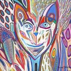 """Tableau """"Portrait de chat"""" de Vincent Dufour - Pastel sec de 60/60cm [tableau de style figuration libre et nouvelle figuration]"""