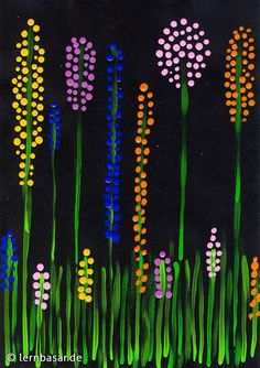 Spring meadow dot painting - Kunst grundschule - Welcome Home Spring Painting, Dot Painting, Painting Canvas, Summer Crafts, Summer Art, Art Floral, Flower Crafts, Flower Art, Diy Flowers