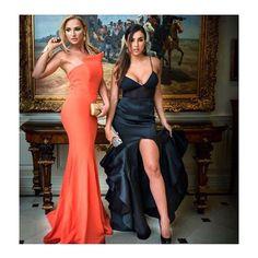 #KateDros #KellyKarloff wearing #Aida #Asymmetrical gown style #489 in #Orange & #Nicolebakti strap gown style #6699 #Reveboutique #NicoleBakti #Aida