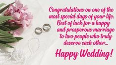 Happy Wedding Wishes & Messages For Everyone | Marriage Greetings Wedding Wishes For Sister, Happy Wedding Wishes, Wedding Wishes Messages, Wishes For Daughter, Wedding Greetings, Happy Anniversary Wishes, Happy Wedding Day, Birthday Wishes, Congratulations Wishes For Marriage