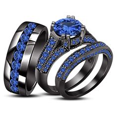Sapphire 18K Black Gold .925 Silver Engagement Wedding Band Bride Groom Ring Set