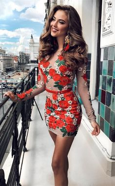 modest red long sleeves short prom dresses, unique bodycon short homecoming dresses with floral, simple sheath party dresses with sleeves