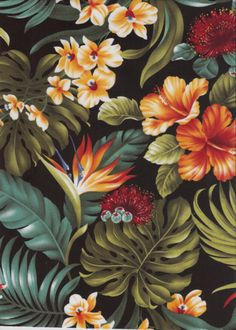 10moha Bird of Paradise, hibiscus, ginger with orchid flowers, cotton Tropical Botanical Vintage Hawaiian Fabric apparel fabric.