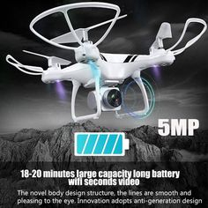 """Universe of goods - Buy RC Drone with Wifi FPV HD Adjustable Camera Altitude Hold One Key ReturnLanding Off Headless RC Quadcopter Drone"""" for only USD. Rc Drone With Camera, Pilot, Camera Prices, Drone Technology, Rc Helicopter, Drone Quadcopter, Drone Photography, Cool, Mini"""