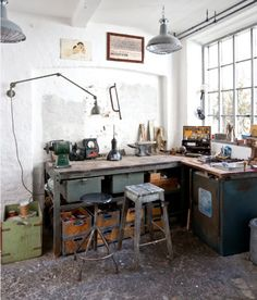 Workspace - Concrete floor, actual shop