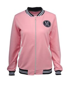 Trendy Band Collar Striped Bomber Jacket