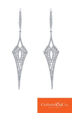 18k White Gold Diamond Drop Earrings by Gabriel & Co.