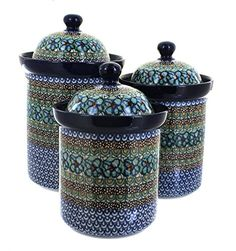 Polish Pottery Mardi Gras 3 Piece Canister Set *** You can get more details by clicking on the image.