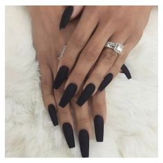 ..black matte coffin nails.. … | Pinterest ❤ liked on Polyvore featuring beauty products, nail care, nail treatments, nails, beauty and makeup