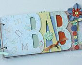 Baby scrapbook album, premade scrapbook, word chipboard album, gender neutral, baby shower gift, baby boy or baby girl, unisex baby UB11
