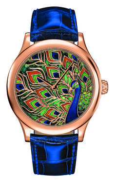 Van Cleef & Arpels  Midnight peacock watch from the Van Cleef & Arpels collection.  http://www.latimes.com/fashion/la-ig-1110-vancleef-arpels-pictures-014-photo.html#lightbox=78109549