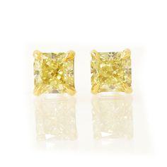 TW 1.02Ct Fancy Yellow Radiant Stud Earrings