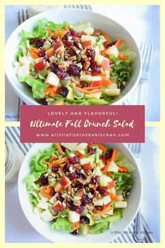 This colorful salad has all the fall feels with bits of fresh, crisp apple, carrots, earthy brussel sprouts and crunchy pepitas, sunflower seeds and pecans! I like to keep this dinner salad vegetarian, but a serving of flavorful roasted or smoked turkey would be a perfect complement to the salad bowl! #holidays #dinnersalad #thanksgivingrecipes #thanksgivingsalad #fallsalads #vegetariandinnersalads #thanksgivingdinnersalad #leftoverturkey #ideasforleftoverturkey #recipesforleftoverturkey