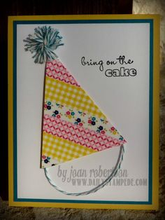 Fun and easy birthday card made with Stampin' Up! Gingham Garden Washi Tape from Joan Robertson DailyStampede.com http://www.dailystampede.com/washi-party-hat/
