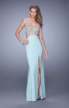 Cheap Open Back Embroidered Bodice Side Slit Aqua Prom Dresses