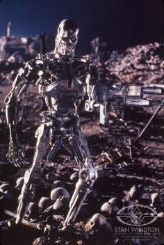 "The full-size 'hero' T-800 puppet on TERMINATOR 2: Judgement Day's ""Future War"" set."